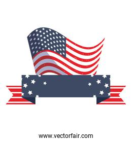 Isolated usa flag with ribbon vector design