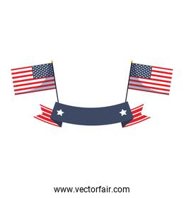 Isolated usa flags with ribbon vector design