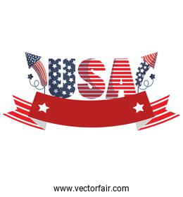 Isolated usa text with fireworks and ribbon