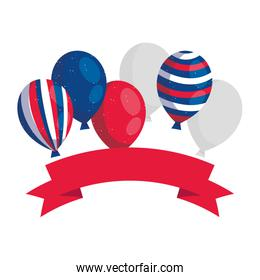 Blue white and red balloons with ribbon vector design
