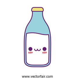 Kawaii milk bottle cartoon line and fill style icon vector design