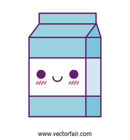 Kawaii milk box cartoon line and fill style icon vector design