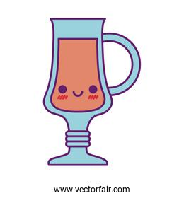 Kawaii juice cup cartoon line and fill style icon vector design