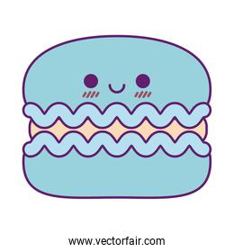 Kawaii cookie cartoon line and fill style icon vector design