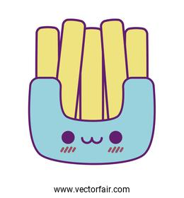Kawaii french fries cartoon line and fill style icon vector design