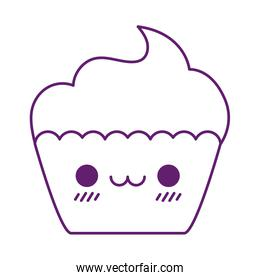 Kawaii cupcake cartoon line style icon vector illustration