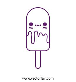 Kawaii ice cream with stick cartoon line style icon vector design