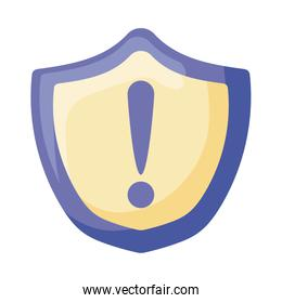 Exclamation mark inside shield flat style icon vector design