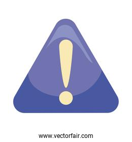 Exclamation mark inside triangle flat style icon vector design