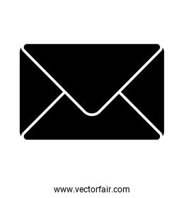 Isolated envelope message silhouette style icon vector design