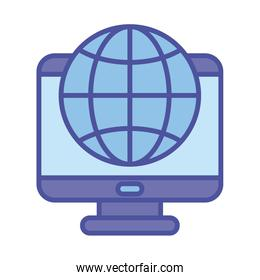 Global sphere and computer line and fill style icon vector design