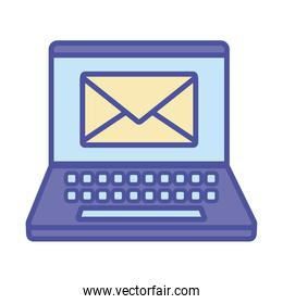 Envelope inside laptop line and fill style icon vector design