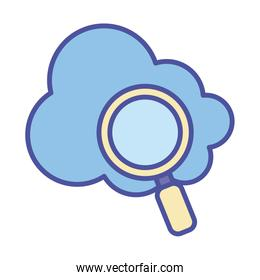 Cloud computing and lupe line and fill style icon vector design