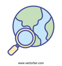 World sphere and lupe line and fill style icon vector design