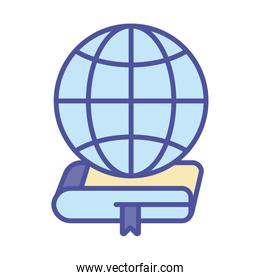 Global sphere over ebook line and fill style icon vector design