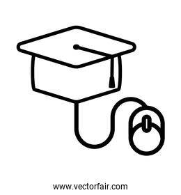 Graduation cap and mouse line style icon vector design