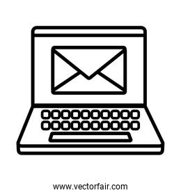 Envelope inside laptop line style icon vector design