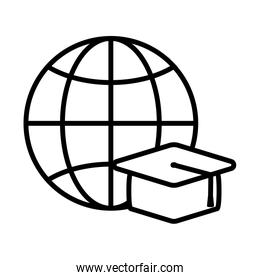 Graduation cap and global sphere line style icon vector design