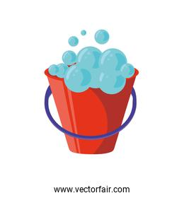 bucket with foam on white background