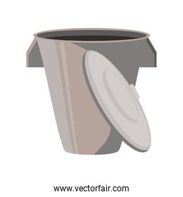 trash basket with lid on white background