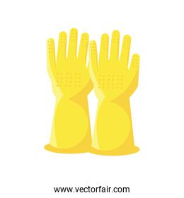 cleaning gloves on white background