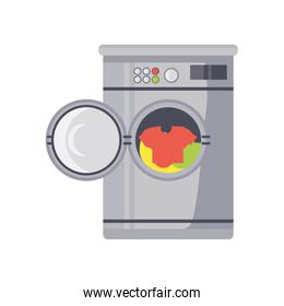 clothes washing machine on white background