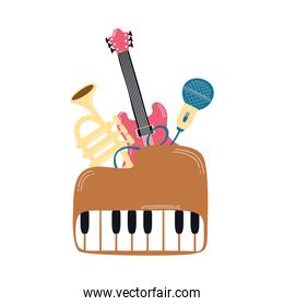 piano with musical instruments icons