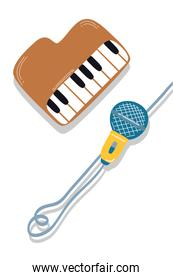 piano instrument and microphone