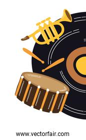 music vinyl disk with instruments