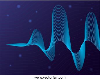 black waves sound blue background