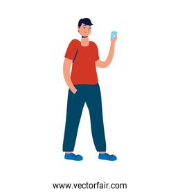 young man using smartphone character