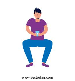 young man using smartphone seated character