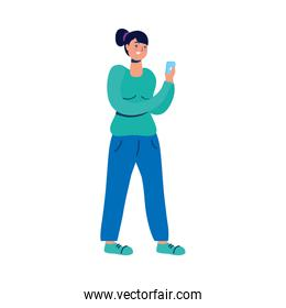 young woman using smartphone character