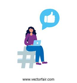 young woman using laptop and social media