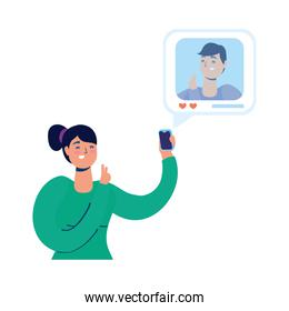 young woman using smartphone and social media tech