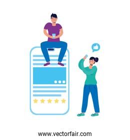 young couple using smartphone characters