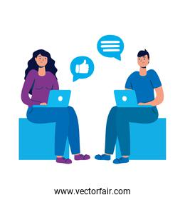 young couple using laptop with social media technology