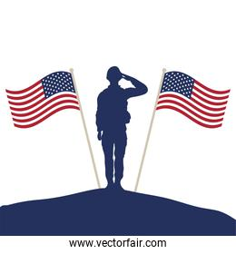 soldier saluting silhouette with usa flags