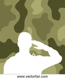 soldier saluting silhouette in camouflage background