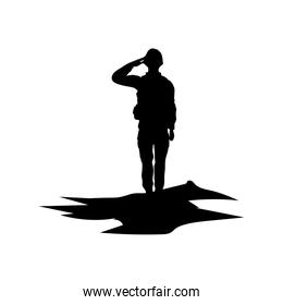 soldier saluting figure silhouette icon