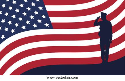 officer military silhouette with usa flag
