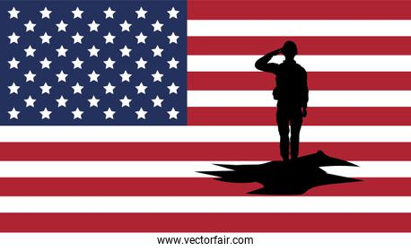 soldier saluting silhouette with usa flag background