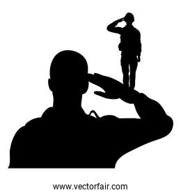 soldiers saluting figures silhouettes icons