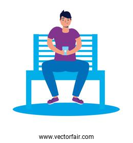 young man using smartphone in park chair