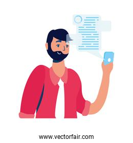young man using smartphone with social media technology