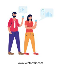 young couple using smartphone with social media tech