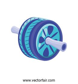 abdominal wheel on white background