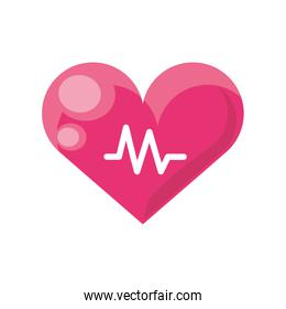 heart and electrocardiogram wave on white background