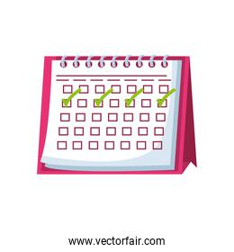 calendar with check boxes on white background