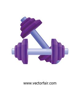 dumbbells for workout on white background